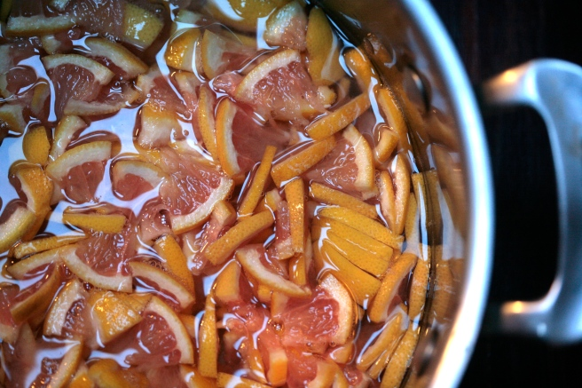 grapefruit slices soaking