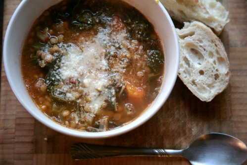 winter vegetable and lentil soup
