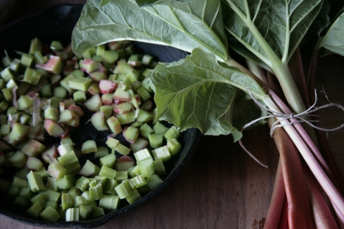 the beginnings of rhubarb crisp