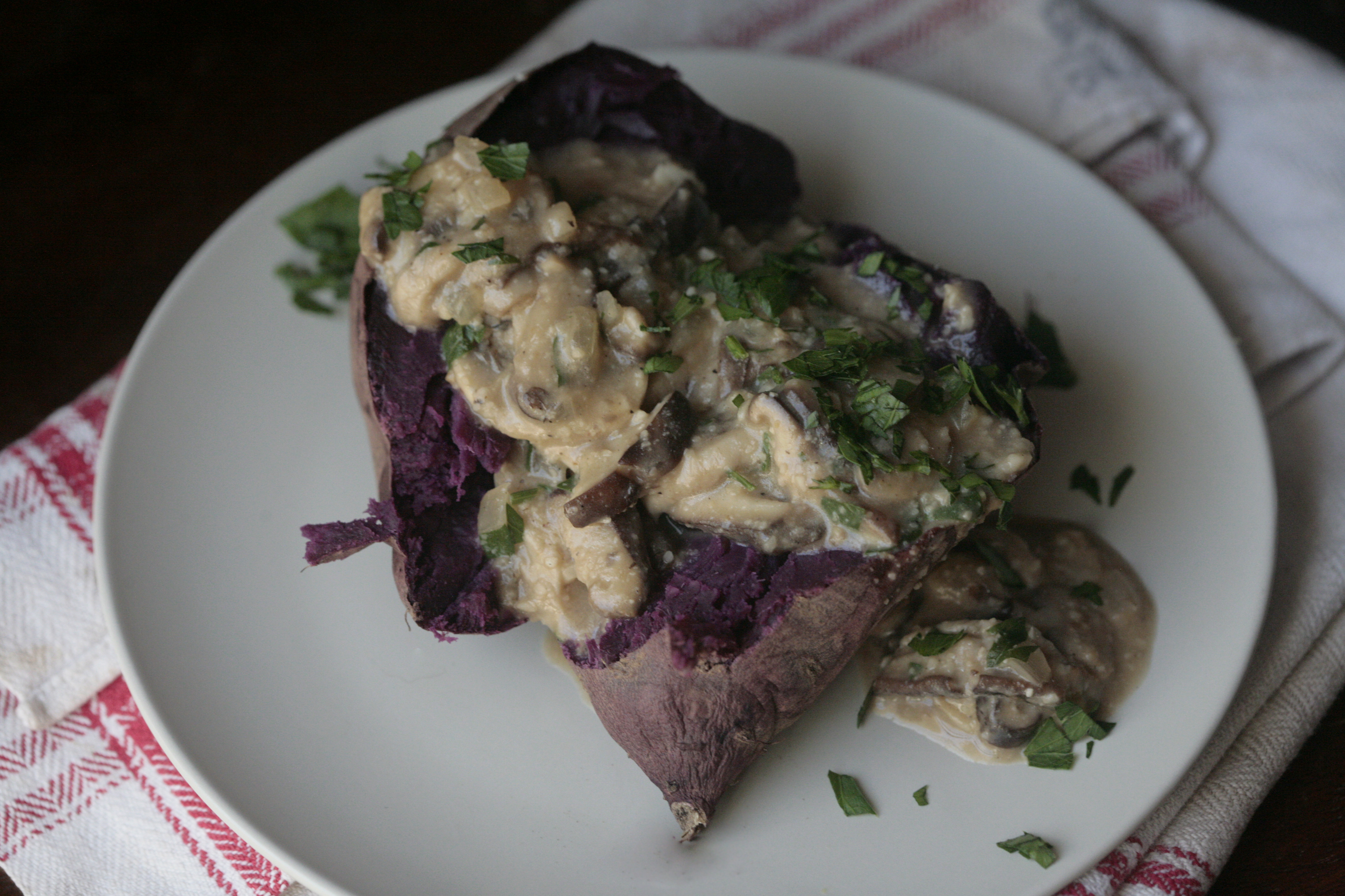 purple sweet potato and mushroom gravy