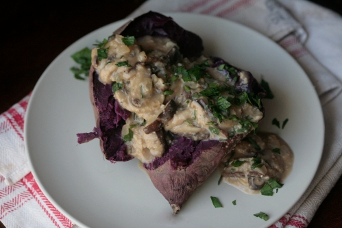 purple sweet potato and mushroom gravy